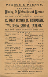 Advert for Pearce's Dining & Refreshment Rooms 6790